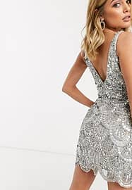A Star Is Born embellished mini dress with scallop detail in silver