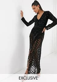A Star Is Born exclusive embellished maxi dress in black
