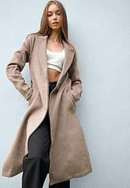 Abercrombie & Fitch belted coat in oatmeal-Grey