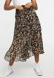 Abercrombie & Fitch chiffon pleated midi skirt in black floral