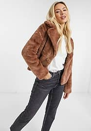 Abercrombie & Fitch teddy coat in brown-White
