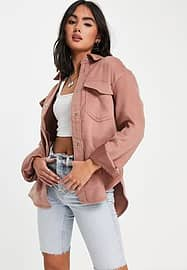 Abercrombie & Fitch wool shacket in pink