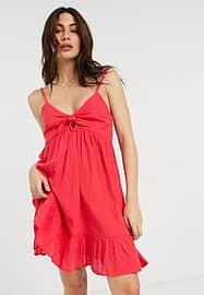 Accessorize front tie summer dress in red