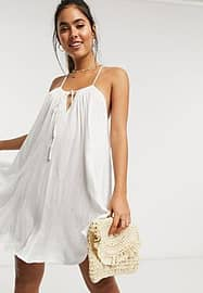 Accessorize relaxed beach swing dress in white