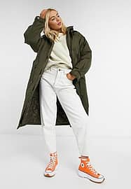 ASOS DESIGN double layered quilted parka in khaki-Green
