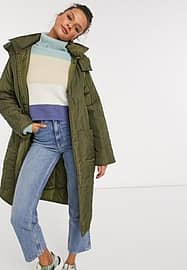 ASOS DESIGN quilted parka with contrast stitching in khaki-Green