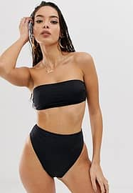 ASOS DESIGN recycled mix and match clean bandeau bikini top-Black