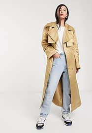 ASOS DESIGN strong shoulder trench coat in stone-Neutral