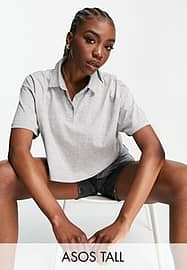 ASOS Tall ASOS DESIGN Tall cropped boxy polo with short sleeve in grey marl