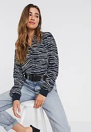 b.Young b. Young v neck blouse in abstract print-Black
