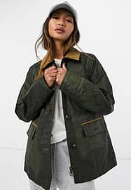 Barbour Christie wax jacket in olive-Green