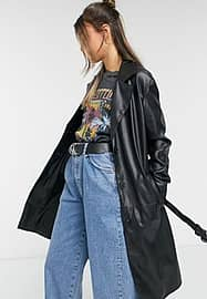 Bershka faux leather belted trench coat in black