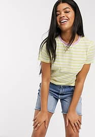 Brave Soul miami ringer striped t-shirt in lemon and pink-Yellow