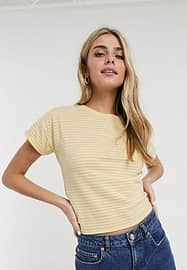 Brave Soul striped t-shirt with tie back in yellow and pink