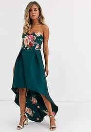 chi chi london bandeau prom dress with high low hem in green floral-Multi