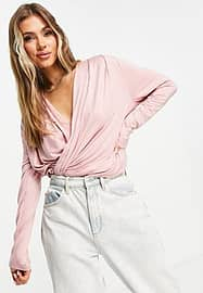 chi chi london wrap lounge co-ord top in pink