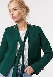 closet london blazer with neck detail in forest green