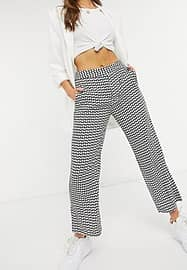 closet london flared tailored trousers in micro heart print-Black