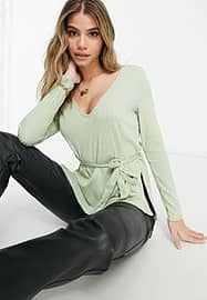 Club L London ribbed plunge neck top in sage green co-ord
