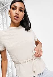 Club L London ribbed t-shirt in cream co-ord-Pink