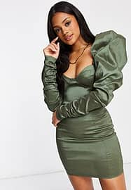 Club L London Club L ruched bodycon mini dress with puff sleeve detail in sage-Green