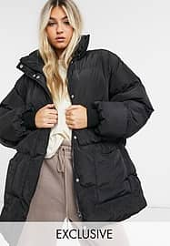 Collusion belted puffer jacket in black