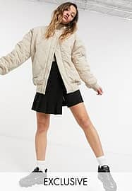 Collusion onion quilted padded bomber jacket in ecru-Neutral