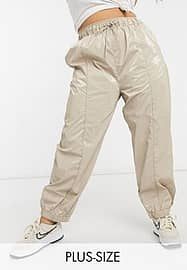 Collusion Plus high shine joggers in beige-Neutral