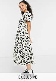 Collusion pointed waist puff sleeve animal print midi dress in beige and black-Neutral