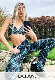 Collusion slim flares with zip hem in black & green check co-ord