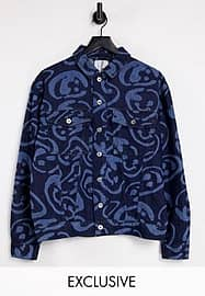 Collusion Unisex denim jacket with laser print co-ord-Blue