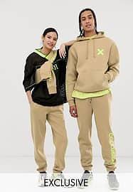 Collusion Unisex logo joggers in tan-Brown