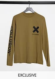 Collusion Unisex long sleeve t-shirt with logo print in stone-Neutral