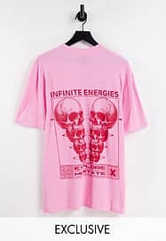 Collusion waffle skeleton graphic t-shirt in pink