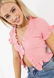 daisy street fitted short sleeve top with ruffle trim-Pink