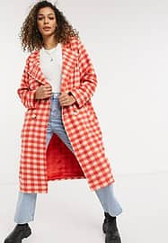 daisy street gingham check coat-Red