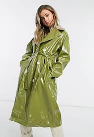daisy street PU trench coat with deer faux fur collar-Green
