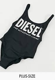 Diesel metallic large logo detail swimming costume in black