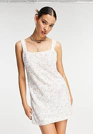 Emory Park 90's mini dress with square neck in vintage sequin floral-White