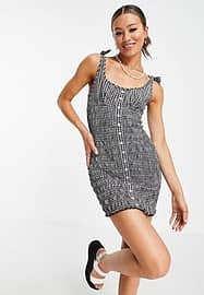Emory Park button through mini dress with tie straps and shirring in gingham-Black