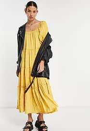 Emory Park maxi smock dress with tiered skirt in texture-Yellow