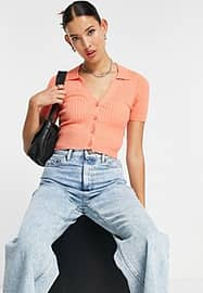Emory Park ribbed crop top with button front and collar detail in orange