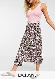 Fashion Union midi pleated skirt with thigh split in wild floral print-Multi