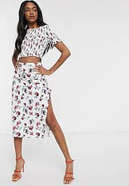 Fashion Union midi skirt with thigh split in floral print co-ord-White
