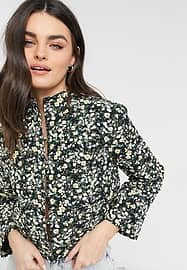 Fashion Union relaxed jacket in quilted ditsy floral co-ord-Black