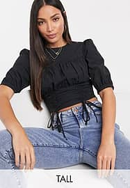 Fashion Union Tall blouse with rouching detail-Green