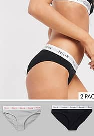 French Connection FCUK 2 pk brief in black & grey-Multi