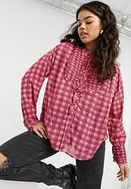 Free People Miles plaid check shirt in pink multi
