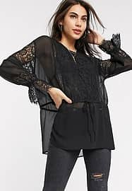 French Connection abella mix tie sleeve blouse in black-Blue