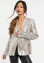 French Connection blazer co ord in rose gold sequin